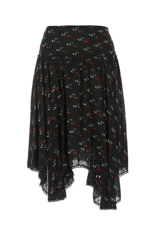 See by Chloé Embroidered Asymmetric Midi Skirt
