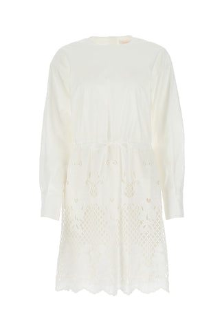 See By Chloé Broderie Anglaise Long Sleeve Dress
