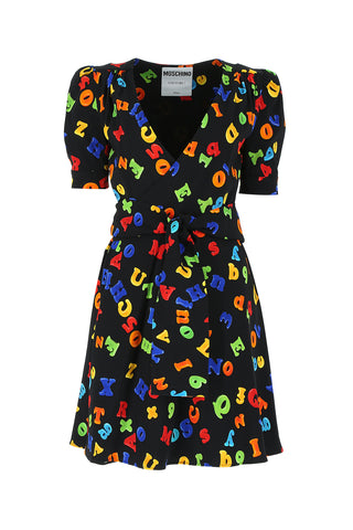 Moschino Lettering Print Wrap Mini Dress