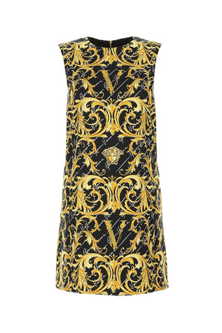 Versace Baroque Logo Printed Shift Dress