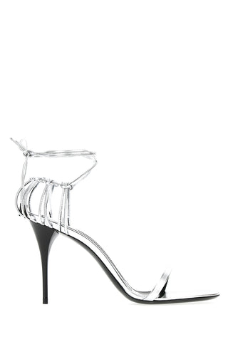 Silver Leather Lexi Ankle Tie Sandals