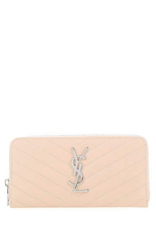 Saint Laurent Quilted Monogram Zip Around Wallet