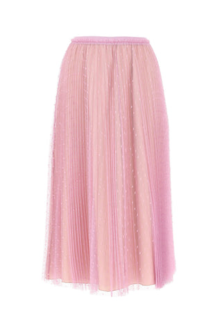 Red Valentino Point d'Esprit Pleated Skirt