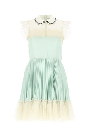 Red Valentino Collared Tulle Pleated Mini Dress