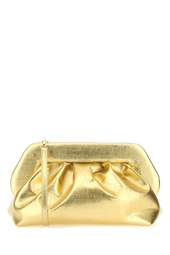 Themoirè Gold Synthetic Leather Bios Clutch Gold Themoire Donna Tu