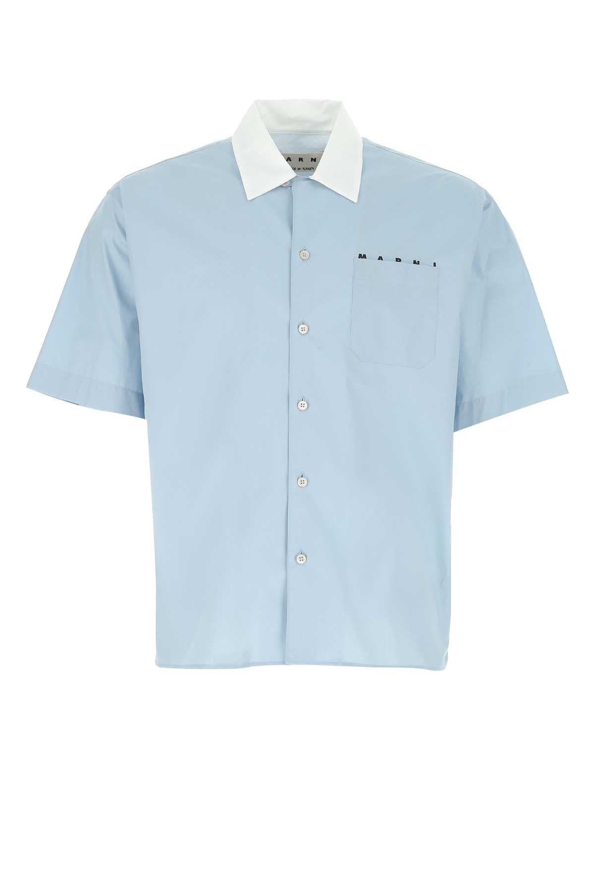 Marni Contrast Collar Bowling Shirt In Blue