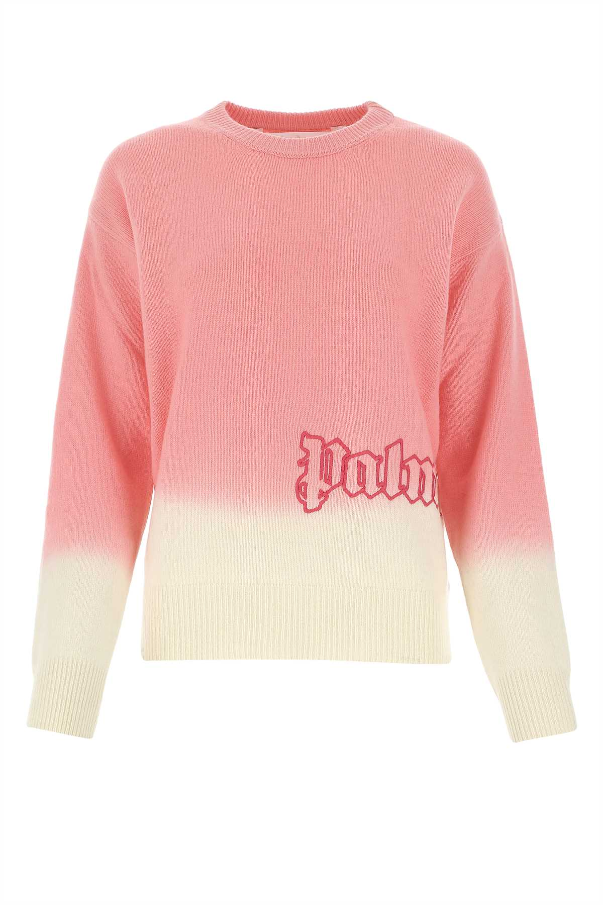 Palm Angels Tops PALM ANGELS LOGO EMBROIDERED GRADIENT SWEATER