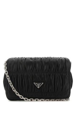 Prada Logo Plaque Quilted Shoulder Bag