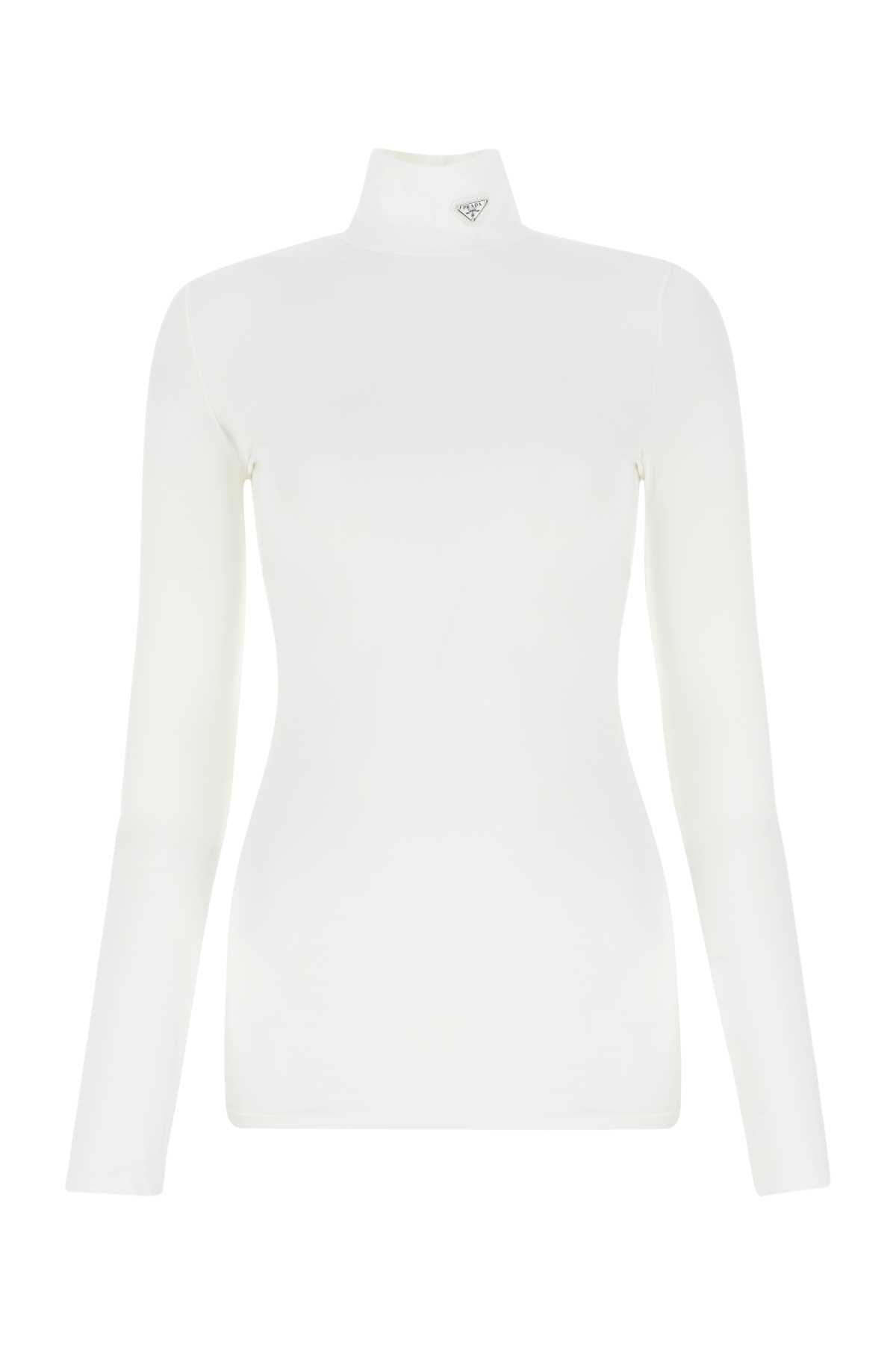 Prada PRADA LOGO PLAQUE HIGH NECK TOP