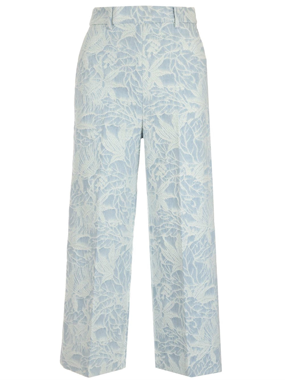 Msgm Cottons MSGM FLORAL EMBROIDERED CROPPED PANTS