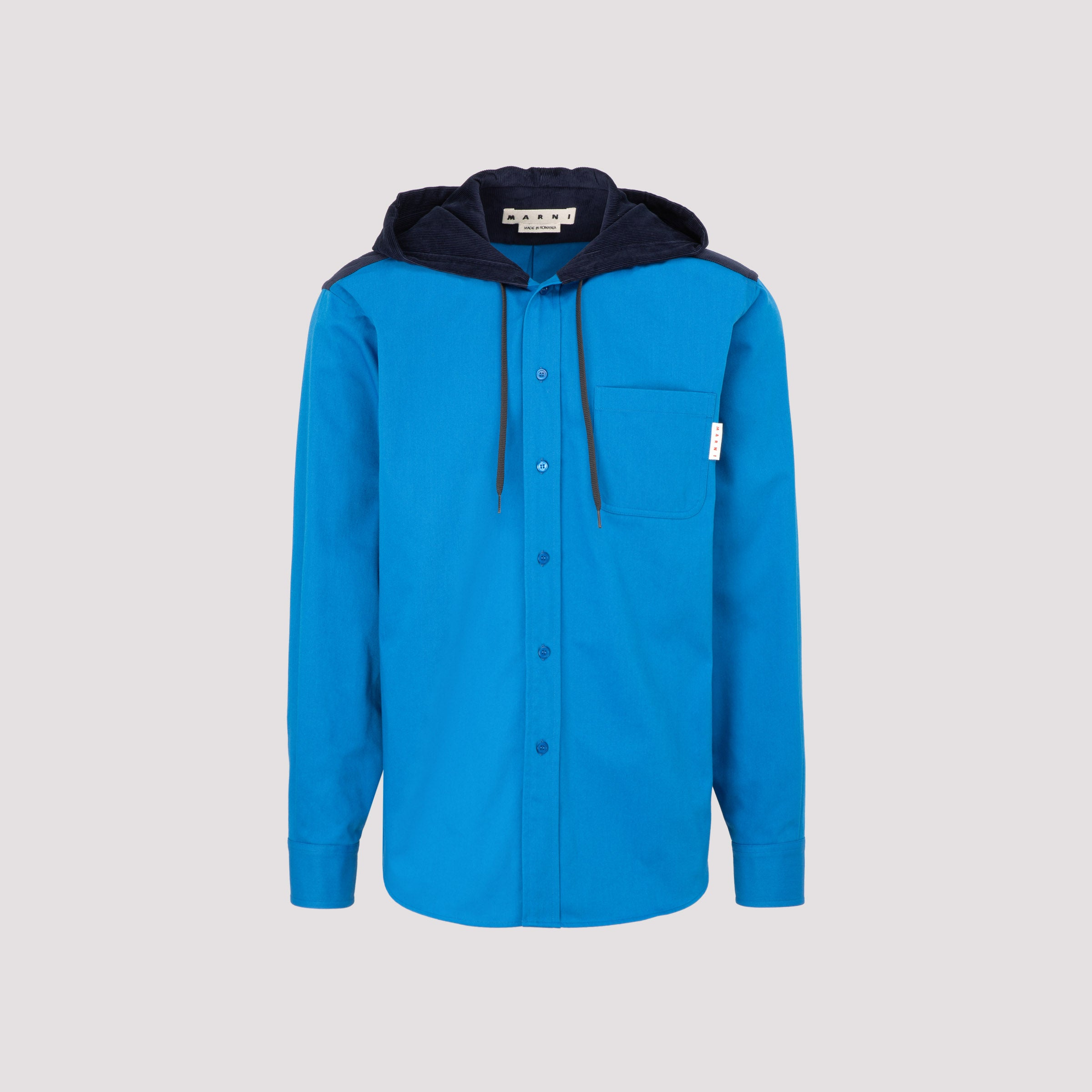 Marni Drawstring Hooded Over In Blue