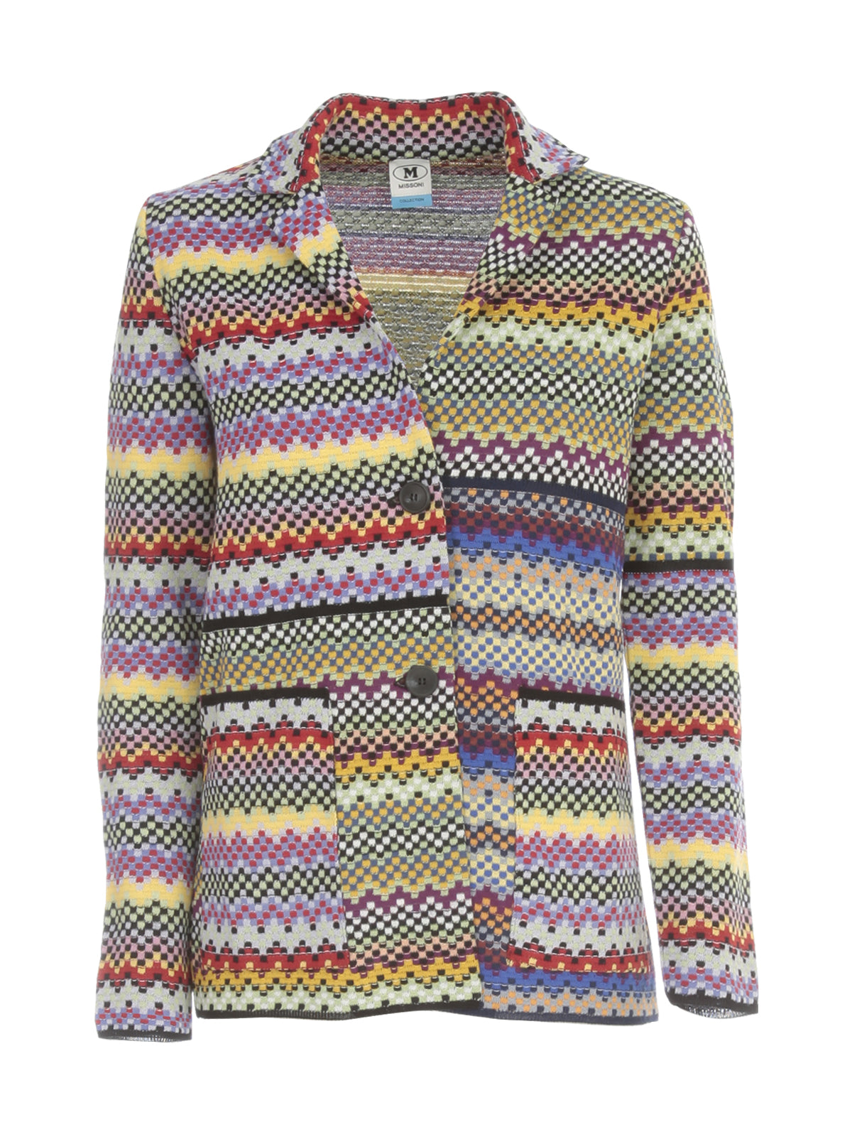 M Missoni M MISSONI GEOMETRIC PATTERNED SINGLE BREASTED BLAZER