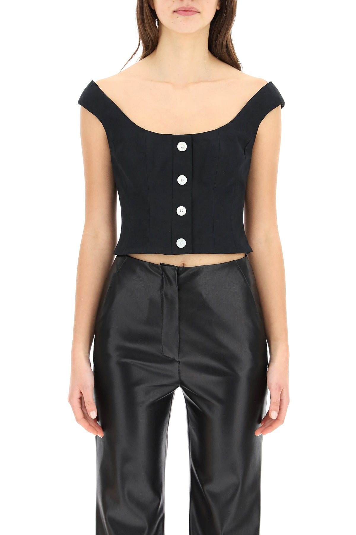 Staud STAUD BUTTONED CROPPED TOP