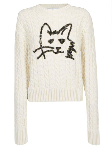 MSGM Cat Printed Cable Neck Jumper