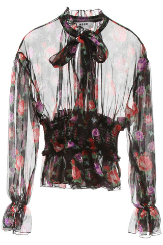 MSGM Floral Print Sheer Blouse