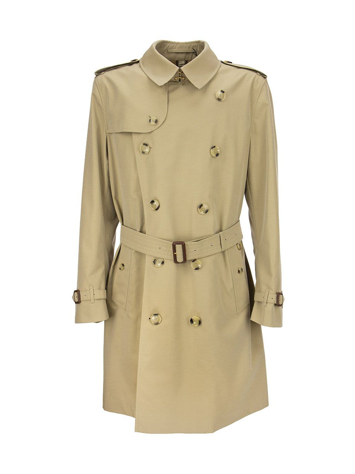 Burberry Double-breasted Belted Mid-length Trench In Brown