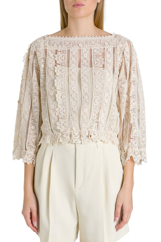 Red Valentino Lace Sheer Blouse
