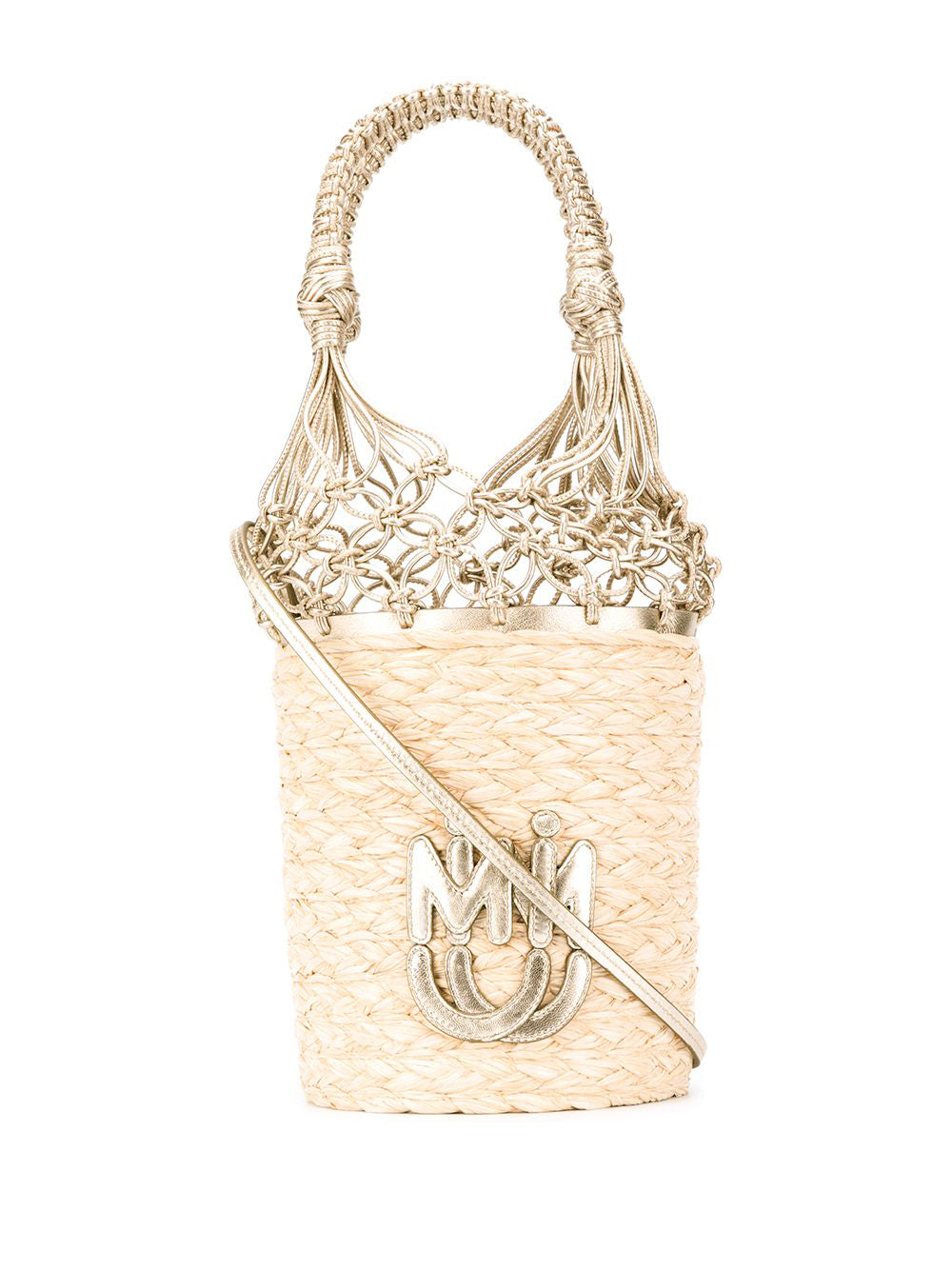 Miu Miu Leathers MIU MIU MESH DETAIL BUCKET BAG