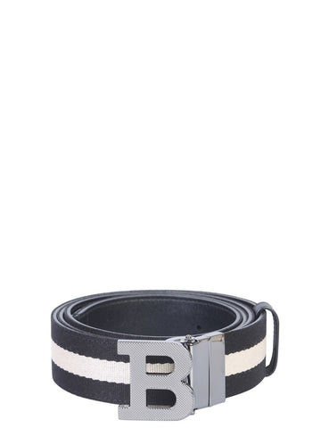 Bally Logo Buckle Webbed Belt