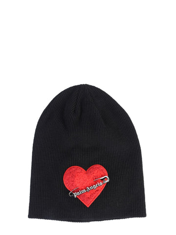Palm Angels Safety Pin Ribbed Beanie