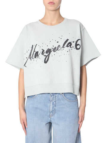 Mm6 Maison Margiela Glittered Print T-Shirt