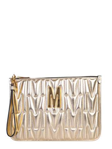 Moschino Quilted Logo Plaque Clutch