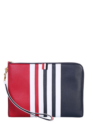 Thom Browne 4-Bar Striped Clutch Bag