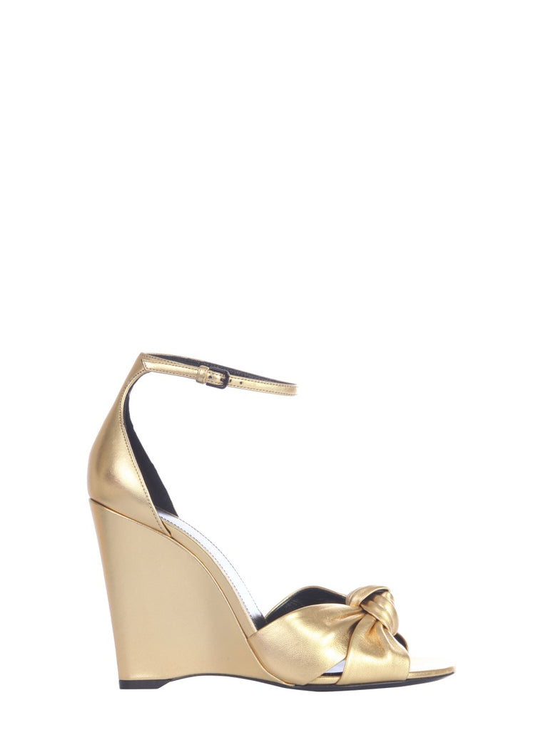 Saint Laurent Knot Wedged Sandals In Gold
