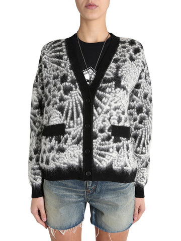 Saint Laurent Floral Knitted Cardigan