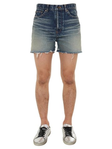 Saint Laurent Raw-Edge Denim Shorts