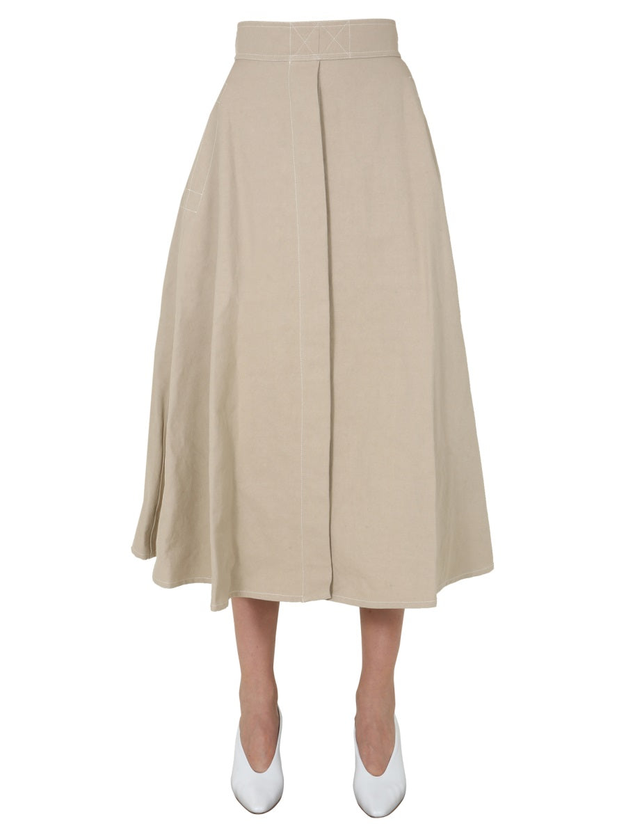 LEMAIRE LEMAIRE FLARED MIDI SKIRT