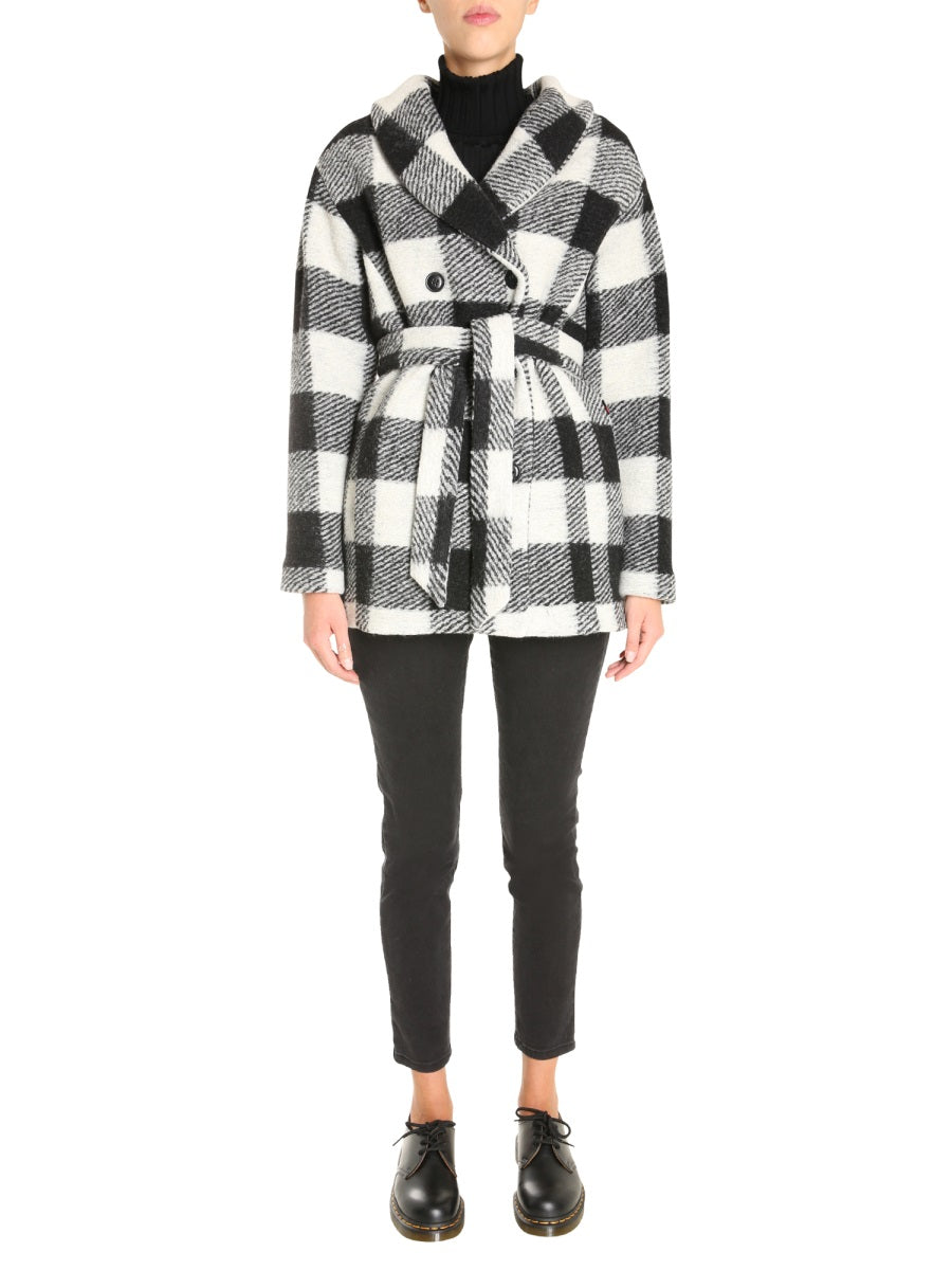 Woolrich WOOLRICH CHECK TIE BELT DOUBLE BREASTED COAT