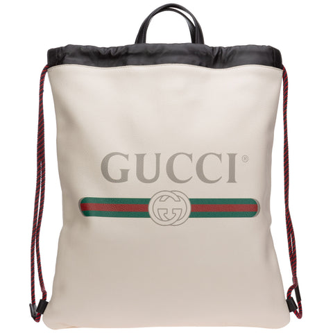 Gucci Logo Print Medium Drawstring Backpack