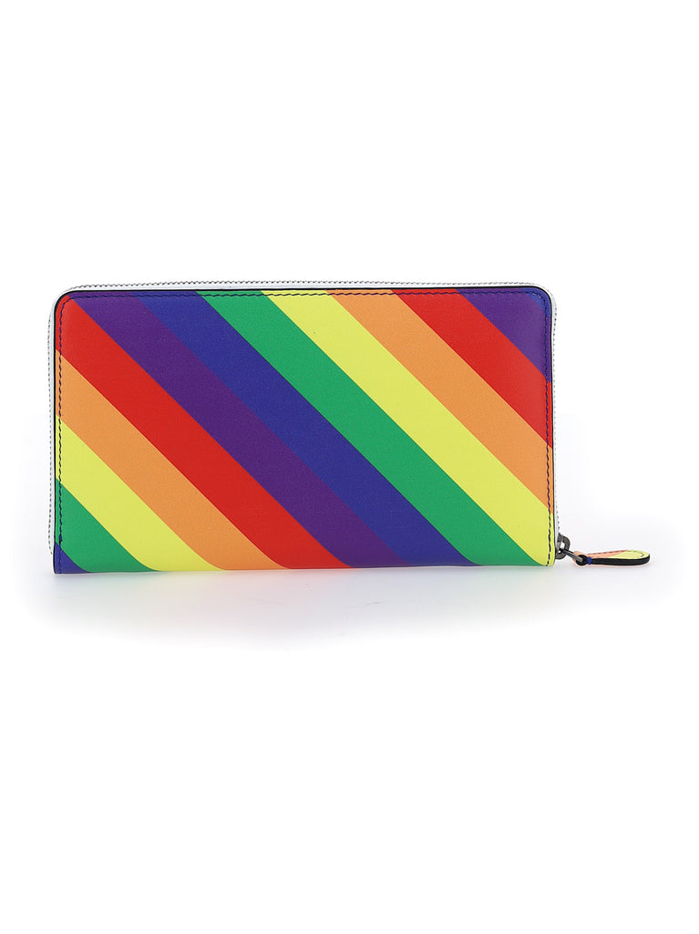 BALENCIAGA Wallets BALENCIAGA VILLE RAINBOW STRIPED CONTINENTAL ZIP WALLET