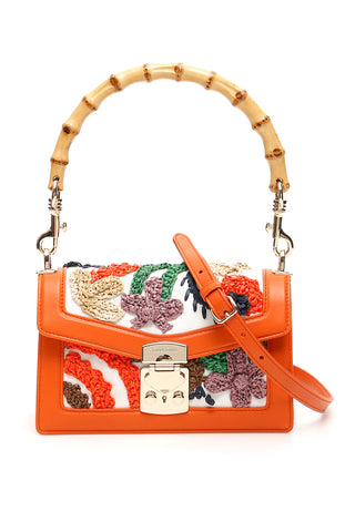Miu Miu Floral Embroidered Shoulder Bag