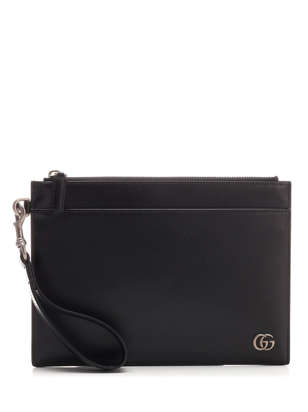 Gucci Gg Plaque Zipped Pouch In Black