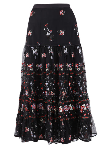 Tory Burch Floral Embroidered Ruffle Skirt