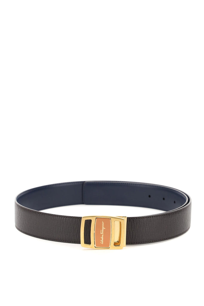 Salvatore Ferragamo Reversible Leather Belt With Double-face Buckle In Black
