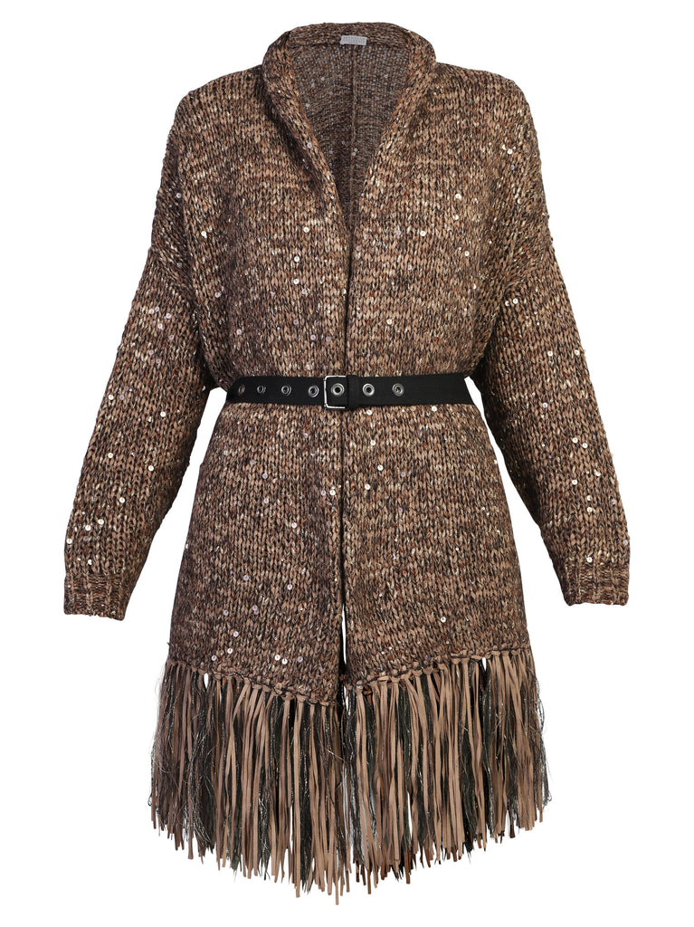 Brunello Cucinelli Tops BRUNELLO CUCINELLI FRINGED SEQUIN EMBELLISHED CARDIGAN