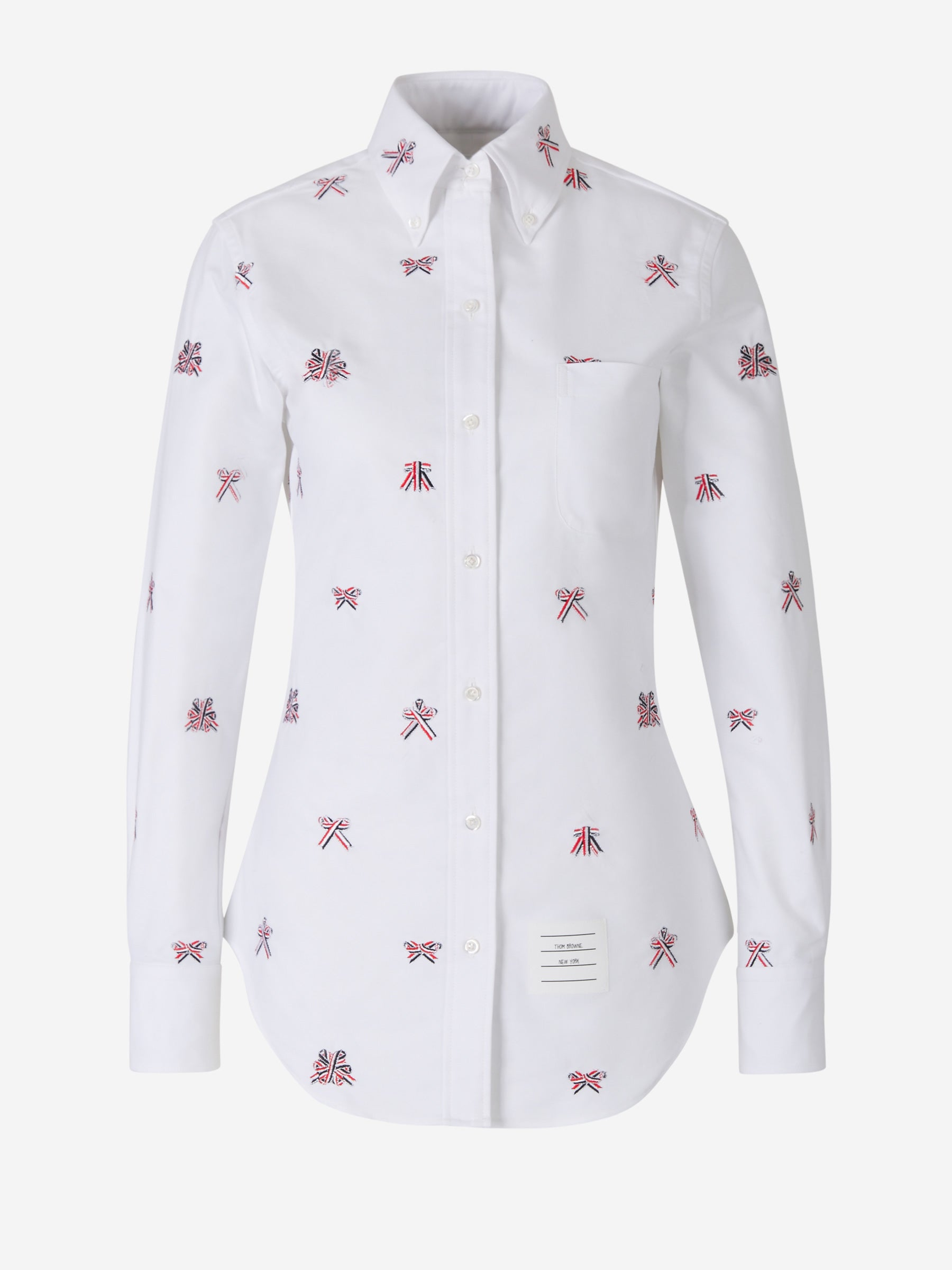 Thom Browne Bows Embroidered Oxford Shirt In White