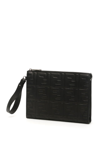 Fendi FF Embossed Clutch Bag
