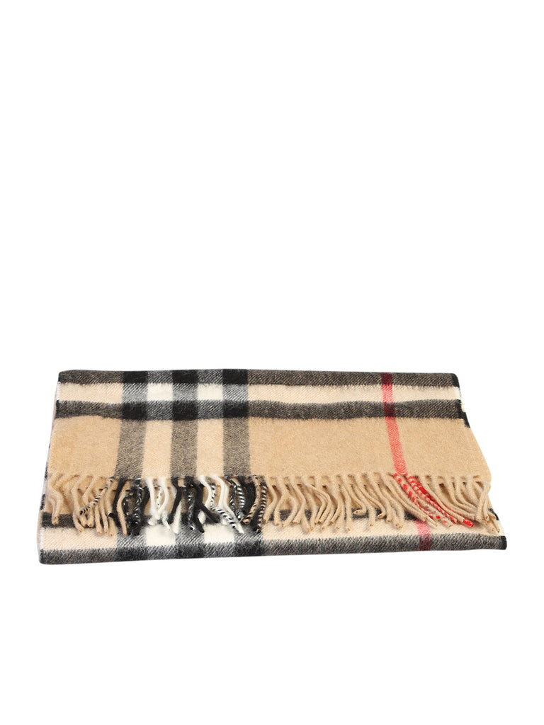 Burberry Accessories BURBERRY CHECKED PRINT FRINGED SCARF