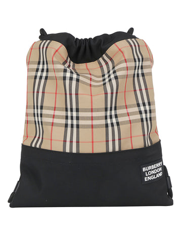 Burberry Check Print Drawstring Backpack