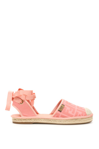 Fendi Roma Ribbon Lace Up Espadrilles