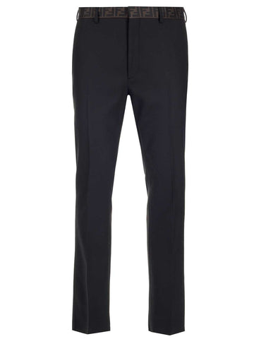 Fendi Logo Trim Tailored Trousers