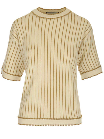 Gucci Pinstripe Knitted T-Shirt