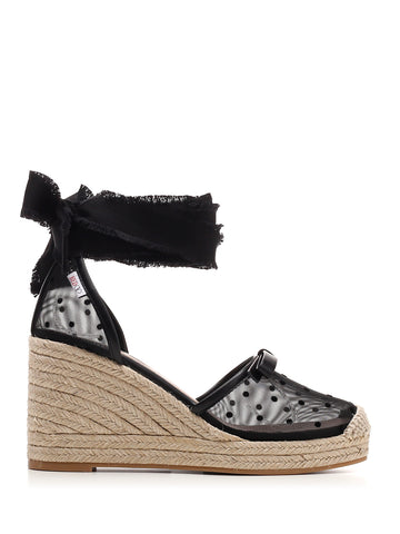 Red Valentino Ankle Wrap Wedge Espadrilles