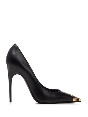 Saint Laurent Metal Detail Pointed Toe Pumps
