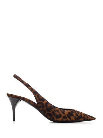 Saint Laurent Animal Print Slingback Pumps