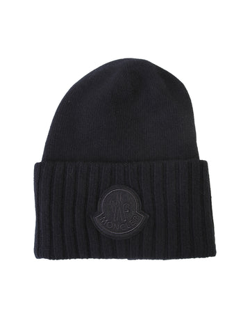 Moncler Logo Patch Ribbed Beanie